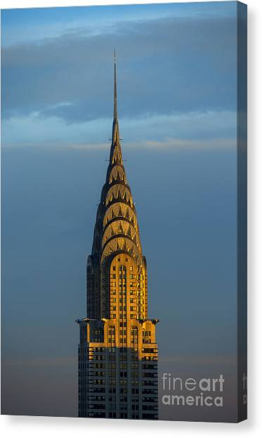 City Sunset Canvas Print - Chrysler Building In The Evening Light by Diane Diederich