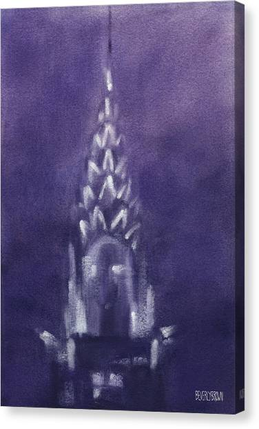 Abstract Skyline Canvas Print - Chrysler Building Violet Night Sky by Beverly Brown Prints