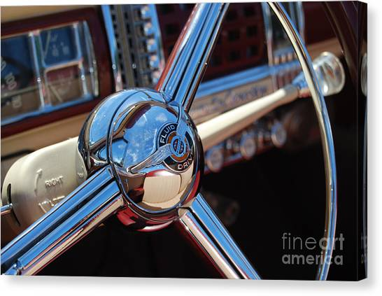 Chrysler Town And Country Steering Wheel Canvas Print by Larry Keahey
