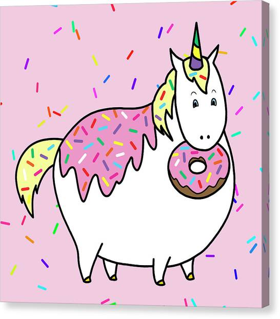 Doughnuts Canvas Print - Chubby Unicorn Eating Sprinkle Doughnut by Crista Forest