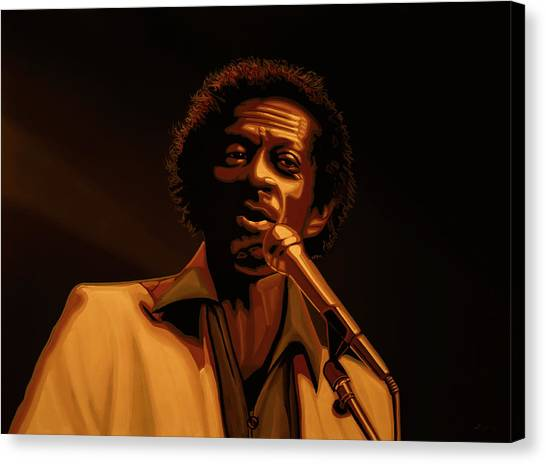 Rolling Stones Canvas Print -  Chuck Berry Gold by Paul Meijering