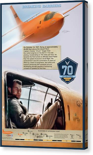 Breaking Sound Barrier Canvas Print - Chuck Yeager Breaking Barriers by Peter Chilelli