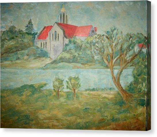 Church Across River Canvas Print by Joseph Sandora Jr