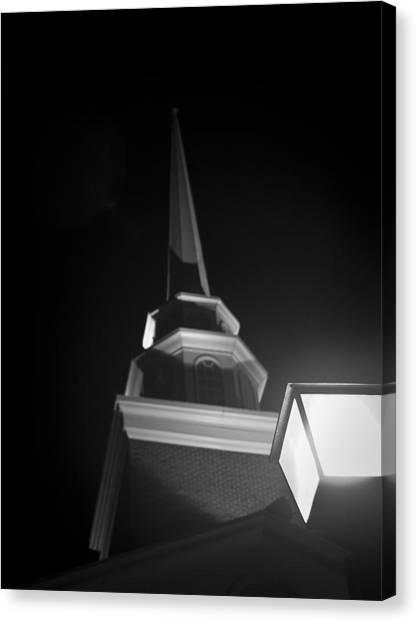 Church By Lamplight Canvas Print