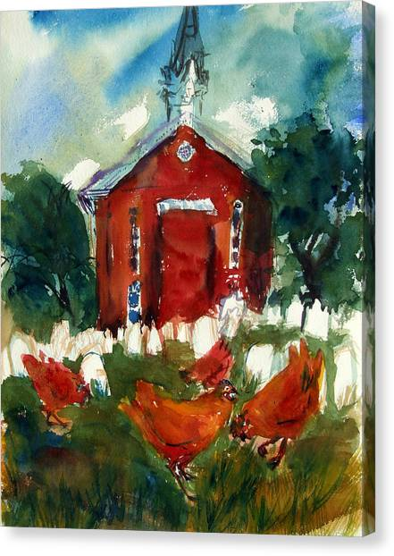 Church Hens Canvas Print by Diana Ludwig