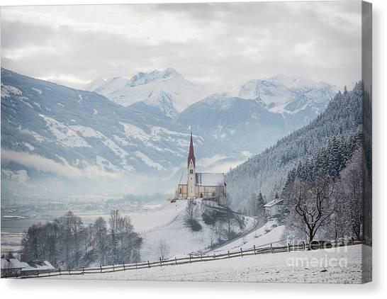 Church In Alpine Zillertal Valley In Winter Canvas Print