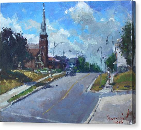 Georgetown University Canvas Print - Church In Georgetown Downtown  by Ylli Haruni