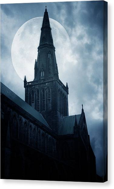 Moon Canvas Print - Glasgow Cathedral by Cambion Art