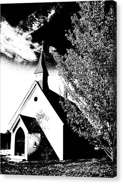 Church In Shadows Canvas Print