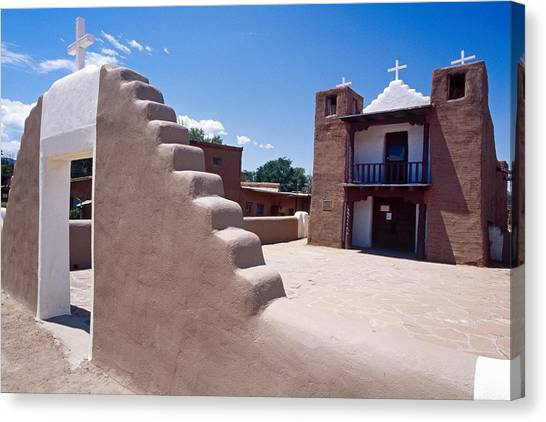 Church Of Taos Pueblo New Mexico Canvas Print by George Oze
