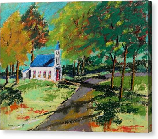 Church On The Bend Landscape Canvas Print