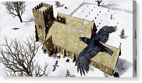 Ravens Canvas Print - Church Ravens by Peter J Sucy