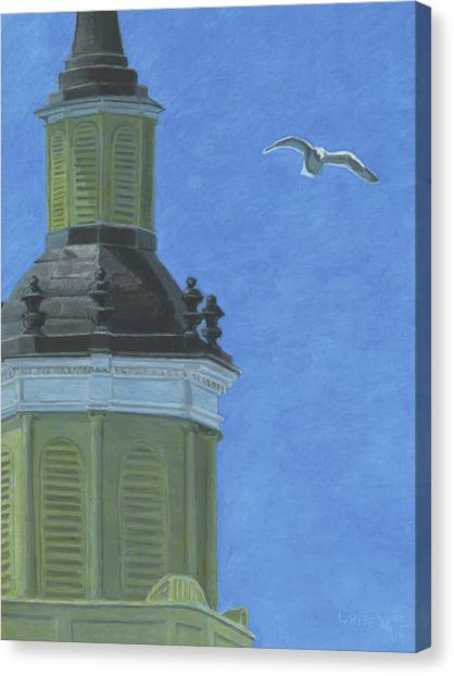 Church Steeple With Seagull Canvas Print