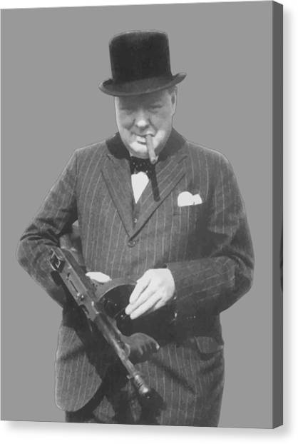 World War Two Canvas Print - Churchill Posing With A Tommy Gun by War Is Hell Store