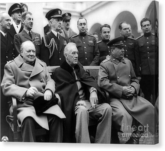 Notable Canvas Print - Churchill, Roosevelt And Stalin by Science Source