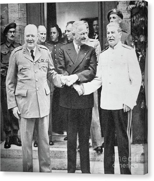 Harry Truman Canvas Print - Churchill, Truman And Stalin At The Potsdam Conference, July 1945 by English School