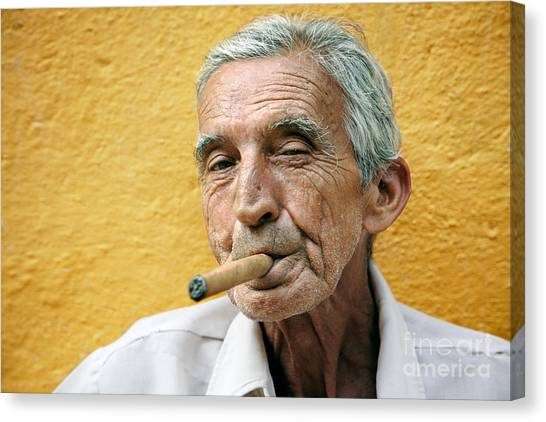 Street Rods Canvas Print - Cigar Smoking - Trinidad - Cuba by Rod McLean