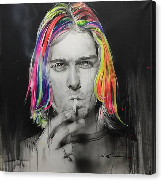 Kurt Cobain Canvas Print - Cigarette Burns by Christian Chapman Art