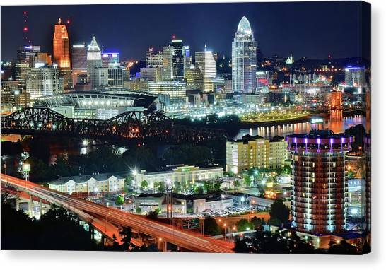 Cincinnati And Covington Collide Canvas Print