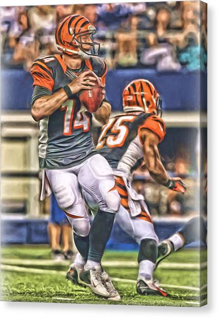Cincinnati Bengals Canvas Print - Cincinnati Bengals Andy Dalton Oil Art by Joe Hamilton