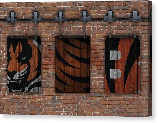 Cincinnati Bengals Canvas Print - Cincinnati Bengals Brick Wall by Joe Hamilton
