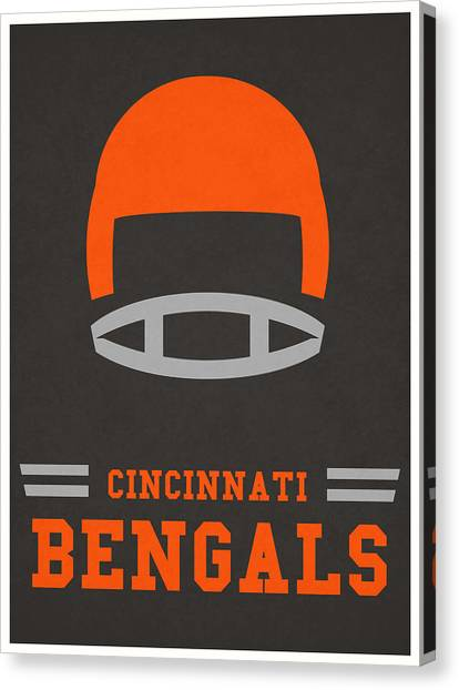 Football Teams Canvas Print - Cincinnati Bengals Vintage Art by Joe Hamilton