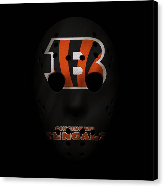Cincinnati Bengals Canvas Print - Cincinnati Bengals War Mask 2 by Joe Hamilton