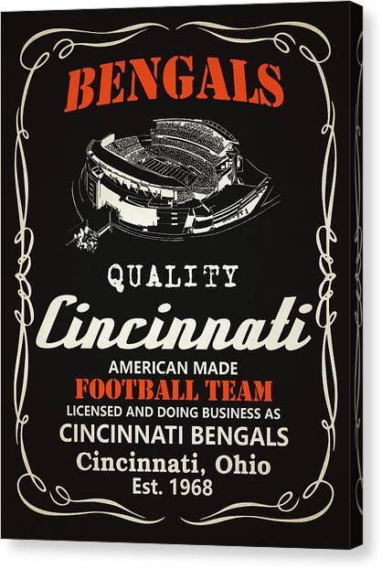 Cincinnati Bengals Canvas Print - Cincinnati Bengals Whiskey by Joe Hamilton