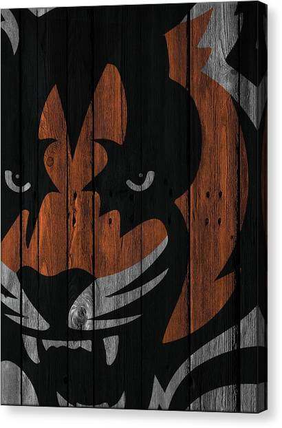 Cincinnati Bengals Canvas Print - Cincinnati Bengals Wood Fence by Joe Hamilton
