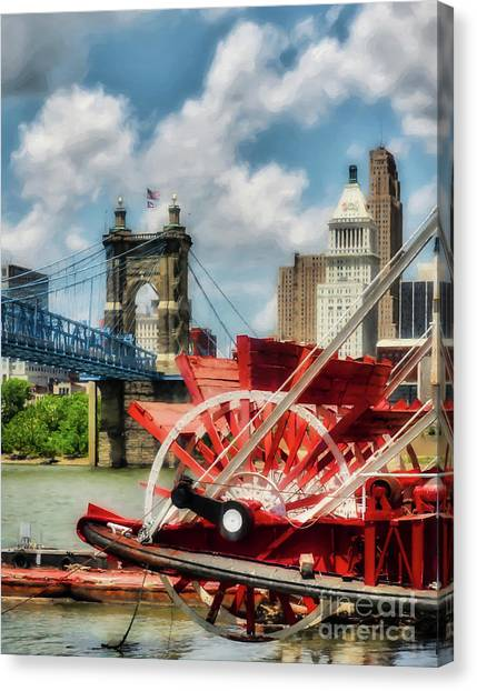 Canvas Print featuring the photograph Cincinnati Landmarks 1 by Mel Steinhauer