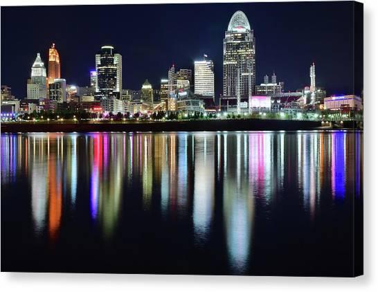 Cincinnati Reds Canvas Print - Cincinnati Late Night Lights by Frozen in Time Fine Art Photography