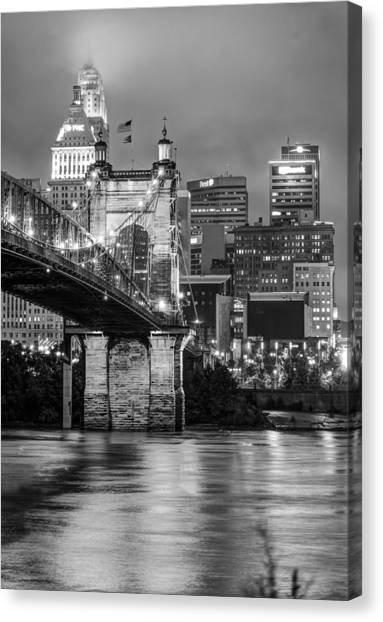 Cincinnati Ohio Skyline And Bridge - Black And White Canvas Print