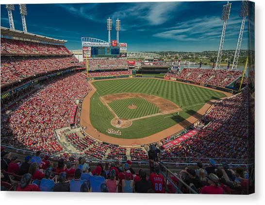 Cincinnati Reds Canvas Print - Cincinnati Reds Great America Ballpark Creative 1 by David Haskett II