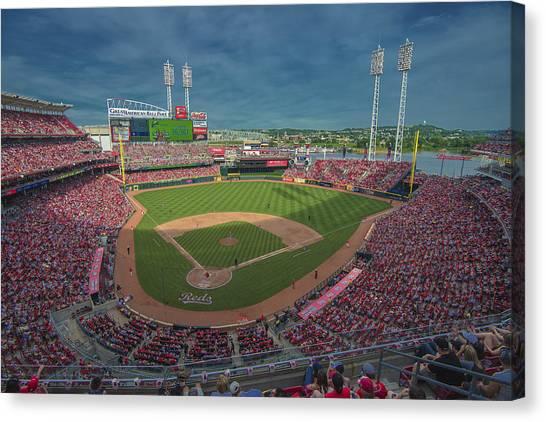 Cincinnati Reds Canvas Print - Cincinnati Reds Great America Ballpark Creative 2 by David Haskett II