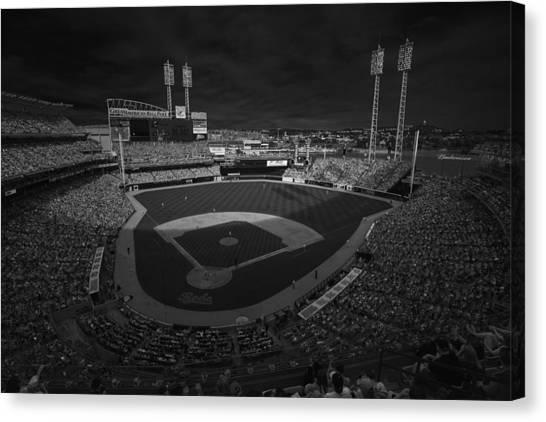 Cincinnati Reds Canvas Print - Cincinnati Reds Great America Ballpark Creative 3 Black And White by David Haskett II