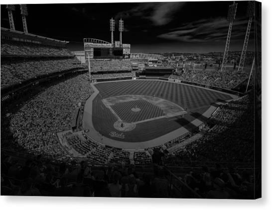 Cincinnati Reds Canvas Print - Cincinnati Reds Great America Ballpark Creative 4 Black And White by David Haskett II