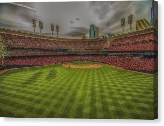 Cincinnati Reds Canvas Print - Cincinnati Reds Great America Ballpark Creative Edit  by David Haskett II