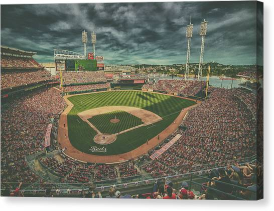 Cincinnati Reds Canvas Print - Cincinnati Reds Great American Ballpark Creative 5 by David Haskett II