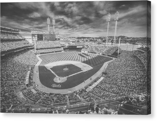 Cincinnati Reds Great American Ballpark Creative 6 Black White Canvas Print