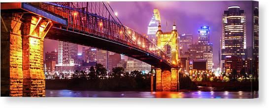 Cincinnati Skyline Panorama - Ohio - Usa Canvas Print by Gregory Ballos