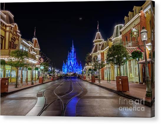 Cinderella Castle Glow Over Main Street Usa Canvas Print