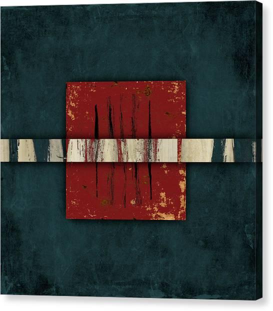 Stripe Canvas Print - Cinnabar And Indigo One Of Two by Carol Leigh