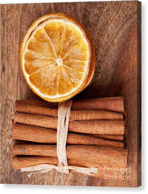 Citrus Canvas Print - Cinnamon And Orange by Nailia Schwarz