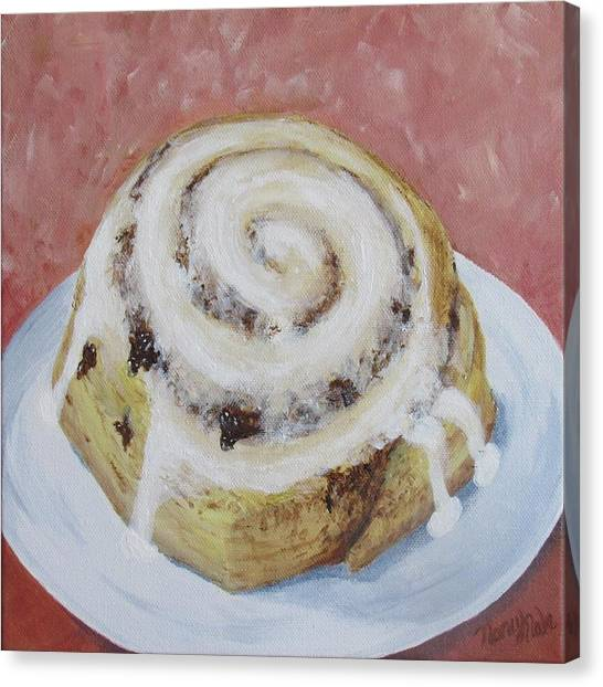 Canvas Print featuring the painting Cinnamon Roll by Nancy Nale