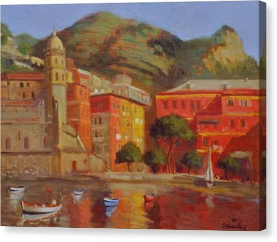 Cinqua Terra Italian Fishing Village Canvas Print by David Olander