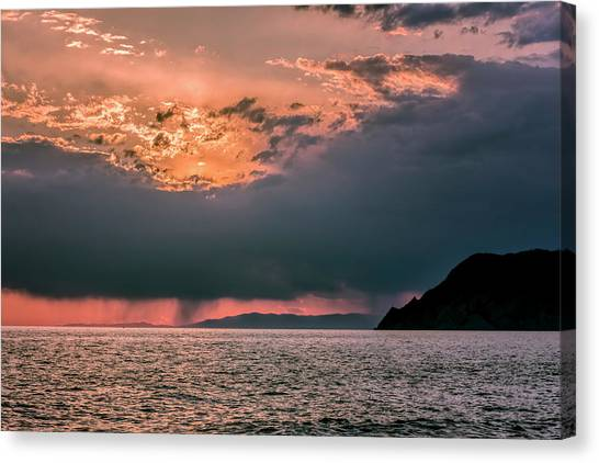 Rainclouds Canvas Print - Cinque Terre Italy Sunset by Joan Carroll