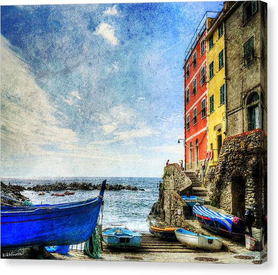 Cinque Terre - Little Port Of Riomaggiore - Vintage Version Canvas Print