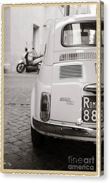 Automobiles Canvas Print - Cinquecento Black And White by Stefano Senise