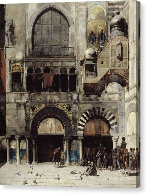 Byzantine Art Canvas Print - Circassian Cavalry Awaiting Their Commanding Officer At The Door Of A Byzantine Monument by Alberto Pasini