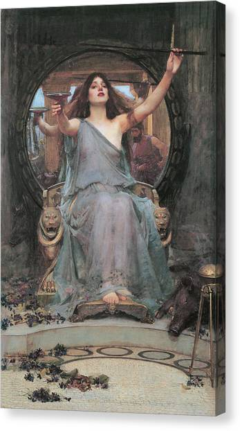 Pre-modern Art Canvas Print - Circe Offering The Cup To Odysseus by John William Waterhouse